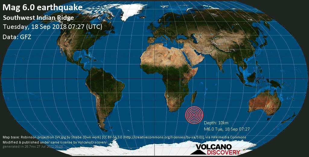 Strong mag. 6.0 earthquake  - Southwest Indian Ridge on Tuesday, 18 September 2018