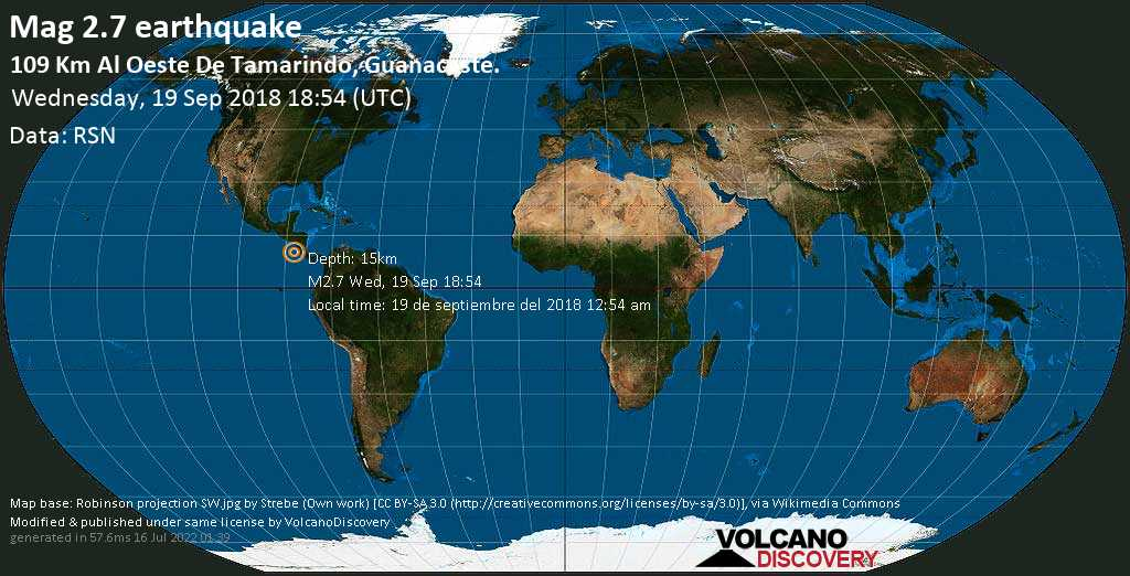 Minor mag. 2.7 earthquake  - 109 km al Oeste de Tamarindo, Guanacaste. on Wednesday, 19 September 2018