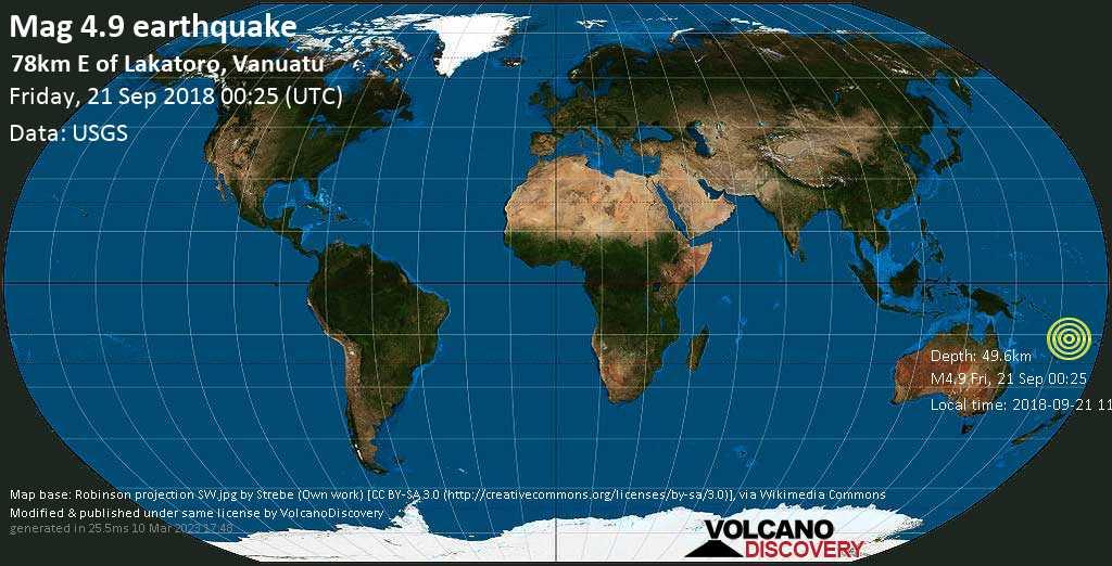 Light mag. 4.9 earthquake  - 78km E of Lakatoro, Vanuatu on Friday, 21 September 2018