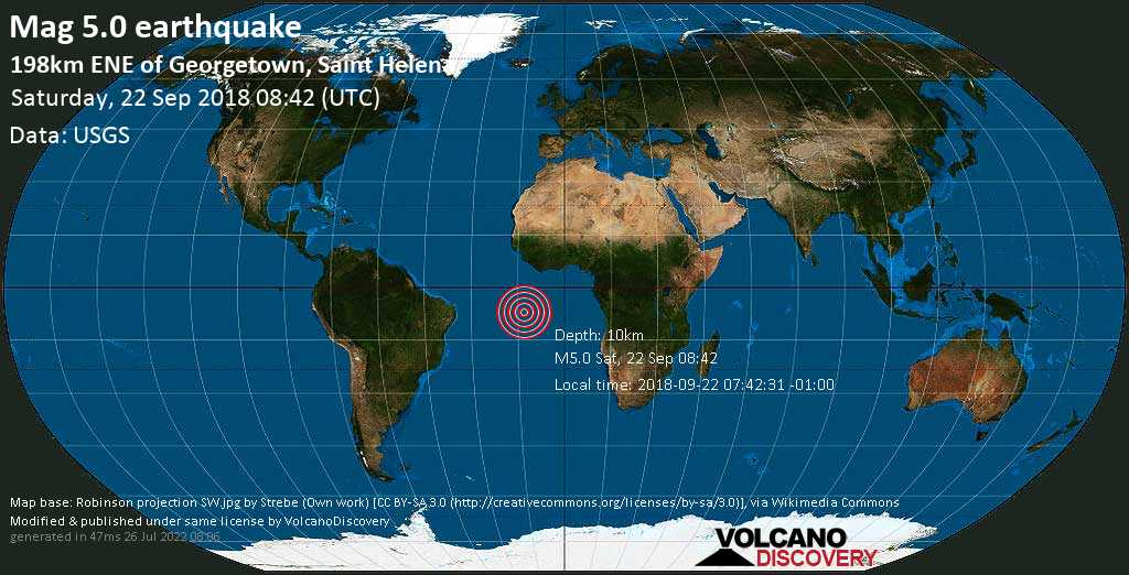 Moderate mag. 5.0 earthquake  - 198km ENE of Georgetown, Saint Helena on Saturday, 22 September 2018