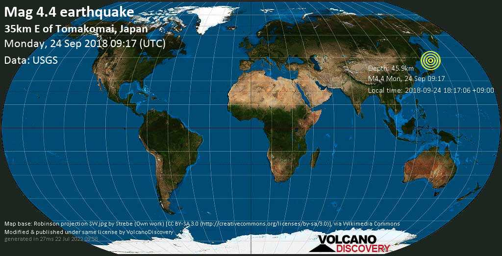 Light mag. 4.4 earthquake  - 35km E of Tomakomai, Japan on Monday, 24 September 2018
