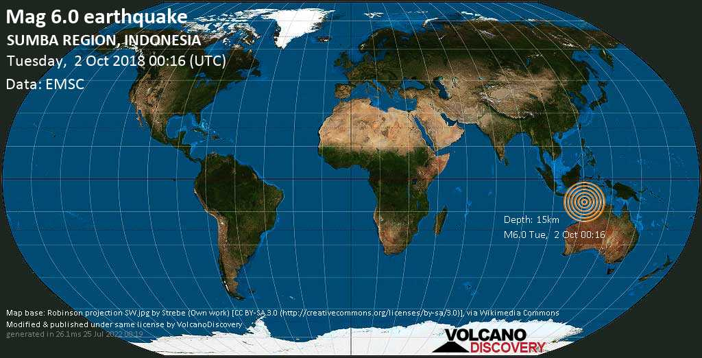 Strong mag. 6.0 earthquake  - SUMBA REGION, INDONESIA on Tuesday, 2 October 2018