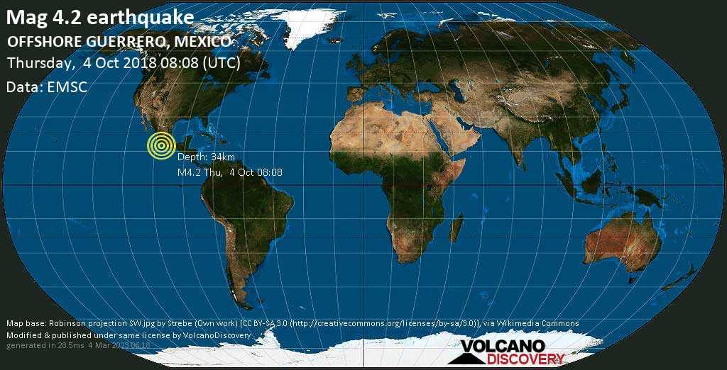 Light mag. 4.2 earthquake  - OFFSHORE GUERRERO, MEXICO on Thursday, 4 October 2018