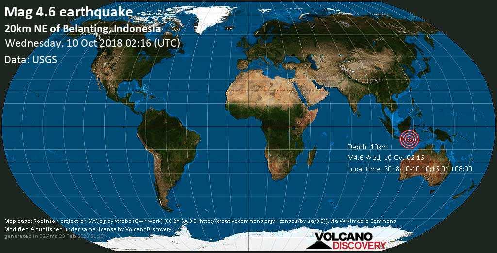Light mag. 4.6 earthquake  - 20km NE of Belanting, Indonesia on Wednesday, 10 October 2018