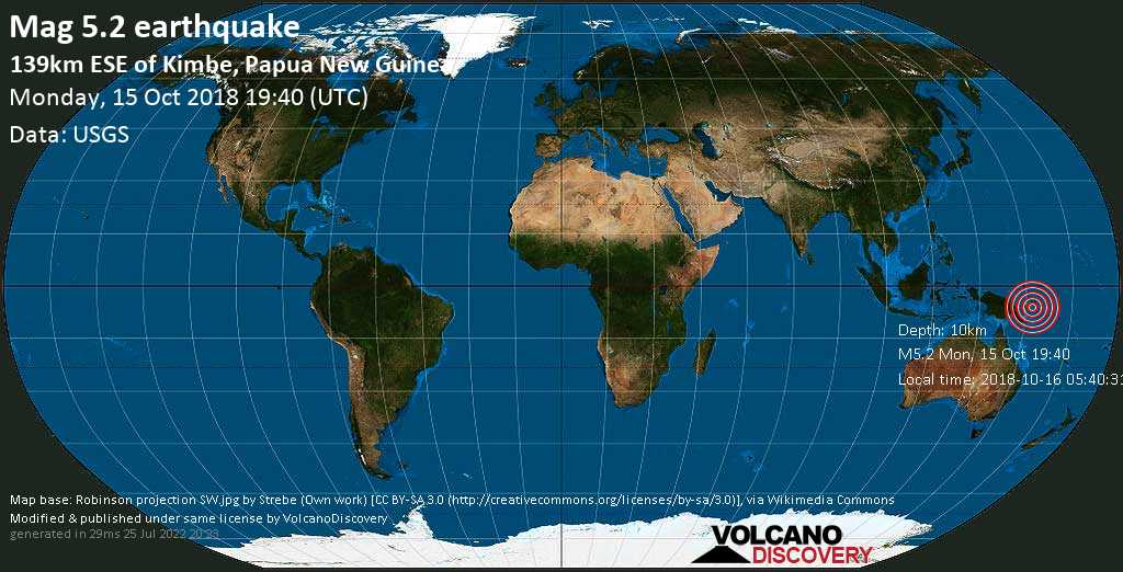 Moderate mag. 5.2 earthquake  - 139km ESE of Kimbe, Papua New Guinea on Monday, 15 October 2018