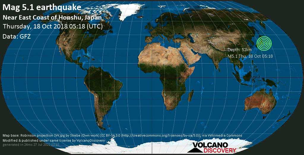 Moderate mag. 5.1 earthquake  - Near East Coast of Honshu, Japan on Thursday, 18 October 2018