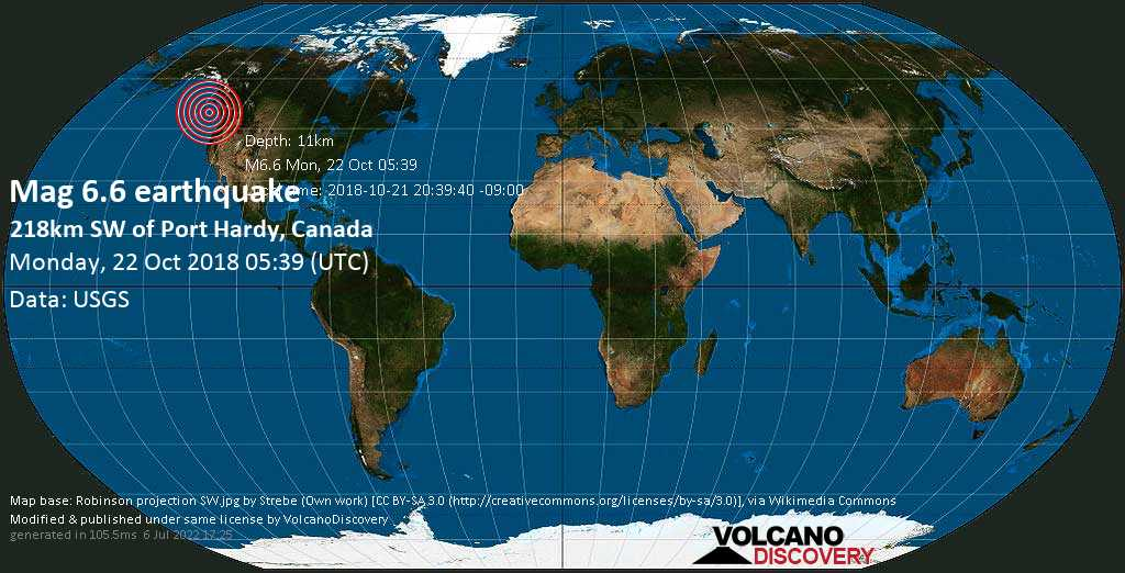 Strong mag. 6.6 earthquake  - 218km SW of Port Hardy, Canada on Monday, 22 October 2018