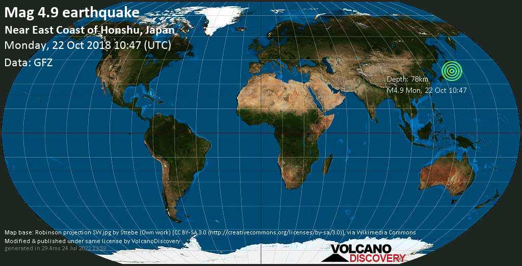Light mag. 4.9 earthquake  - Near East Coast of Honshu, Japan on Monday, 22 October 2018