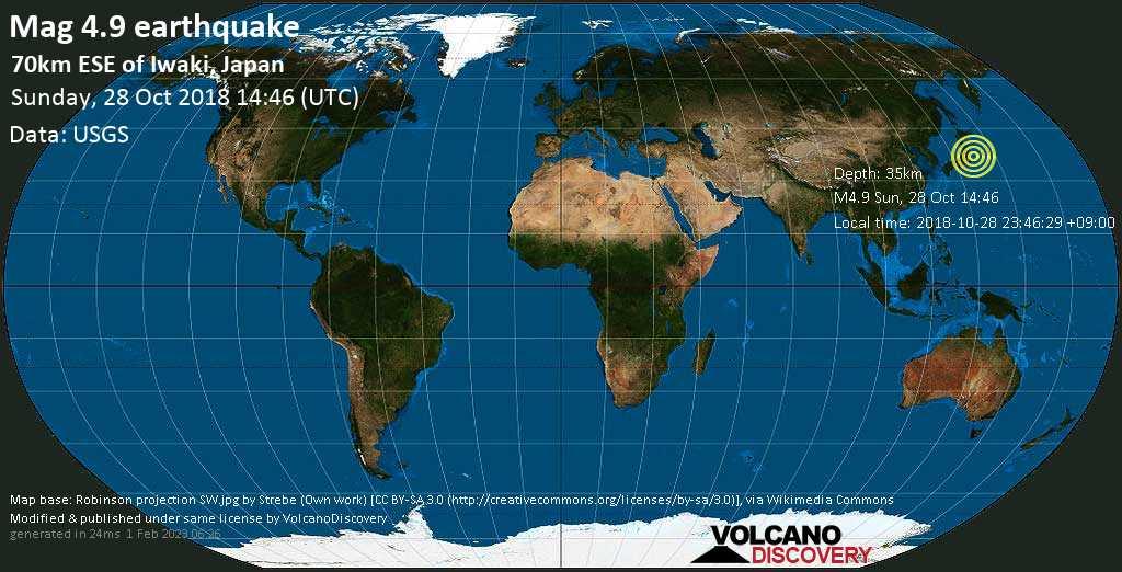 Light mag. 4.9 earthquake  - 70km ESE of Iwaki, Japan on Sunday, 28 October 2018