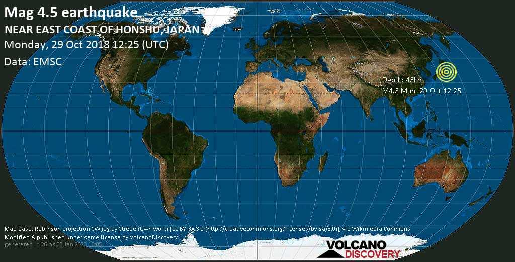 Light mag. 4.5 earthquake  - NEAR EAST COAST OF HONSHU, JAPAN on Monday, 29 October 2018