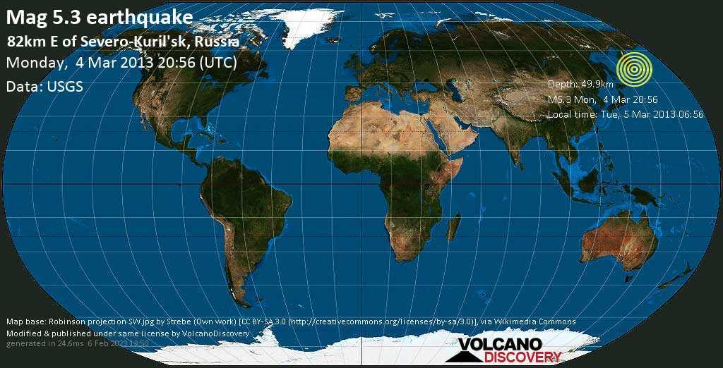 Moderate mag. 5.3 earthquake  - 82km E of Severo-Kuril\'sk, Russia on Monday, 4 March 2013