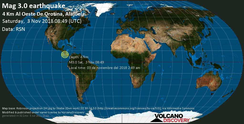 Minor mag. 3.0 earthquake  - 4 km al Oeste de Orotina, Alajuela. on Saturday, 3 November 2018