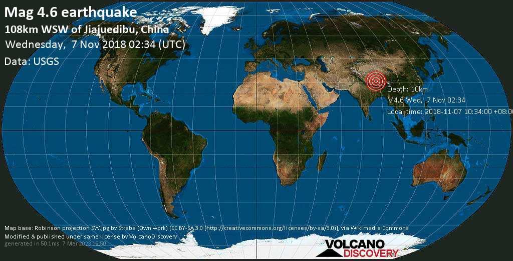 Light mag. 4.6 earthquake  - 108km WSW of Jiajuedibu, China on Wednesday, 7 November 2018