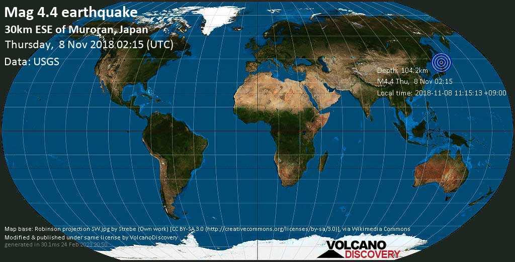 Light mag. 4.4 earthquake  - 30km ESE of Muroran, Japan on Thursday, 8 November 2018