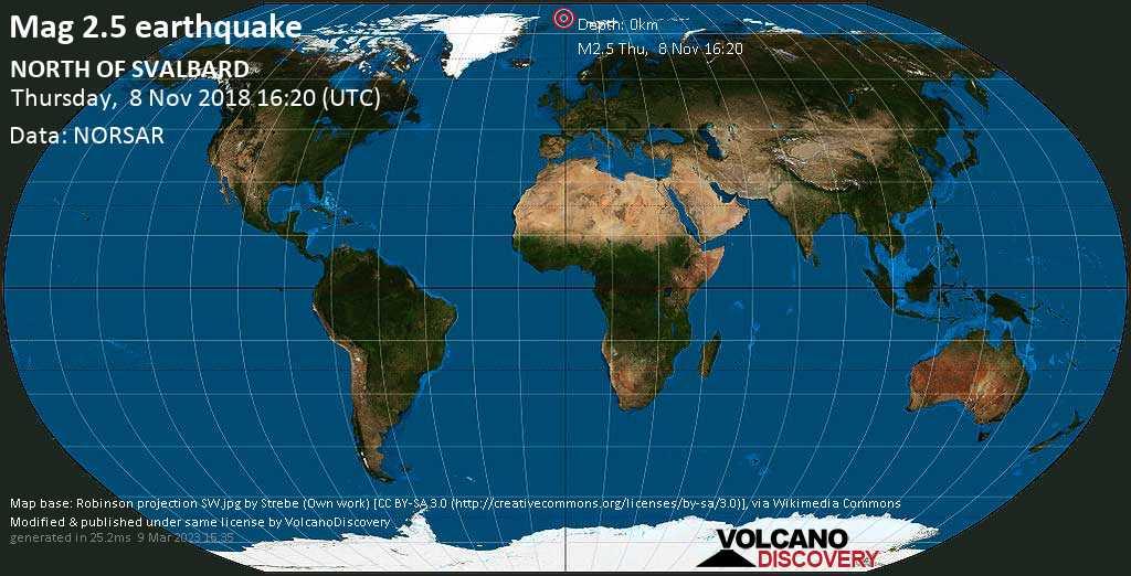 Minor mag. 2.5 earthquake  - NORTH OF SVALBARD on Thursday, 8 November 2018