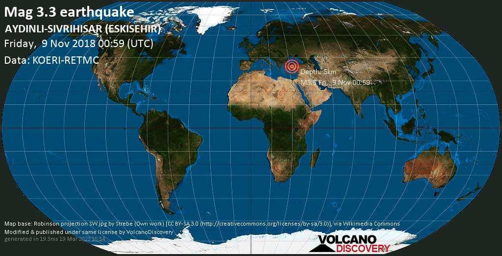 Minor mag. 3.3 earthquake  - AYDINLI-SIVRIHISAR (ESKISEHIR) on Friday, 9 November 2018
