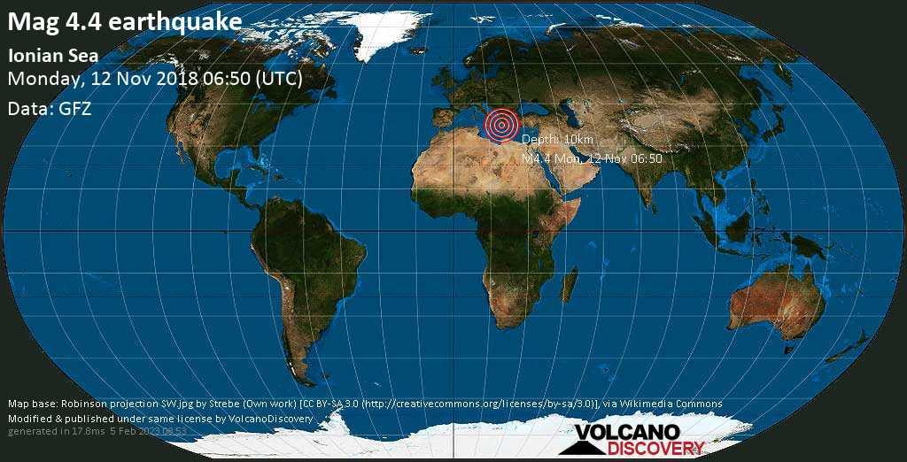 Light mag. 4.4 earthquake  - Ionian Sea on Monday, 12 November 2018