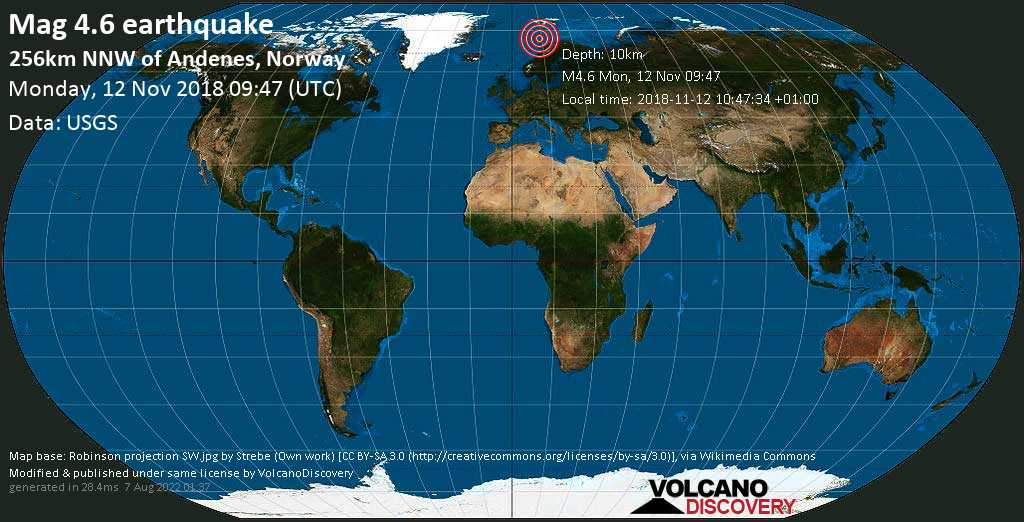 Light mag. 4.6 earthquake  - 256km NNW of Andenes, Norway on Monday, 12 November 2018