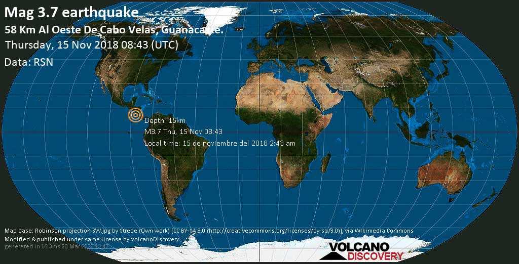 Minor mag. 3.7 earthquake  - 58 km al Oeste de Cabo Velas, Guanacaste. on Thursday, 15 November 2018
