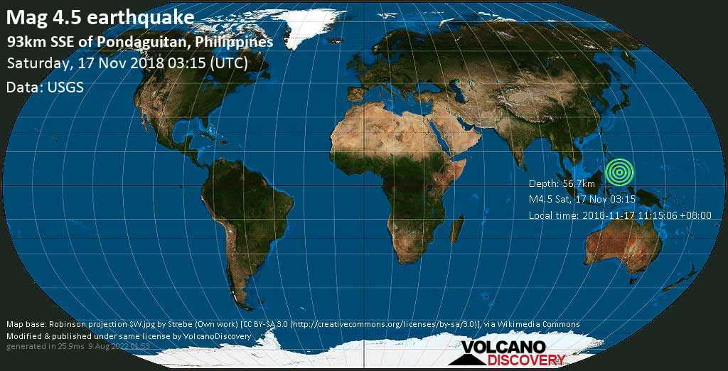 Light mag. 4.5 earthquake  - 93km SSE of Pondaguitan, Philippines on Saturday, 17 November 2018