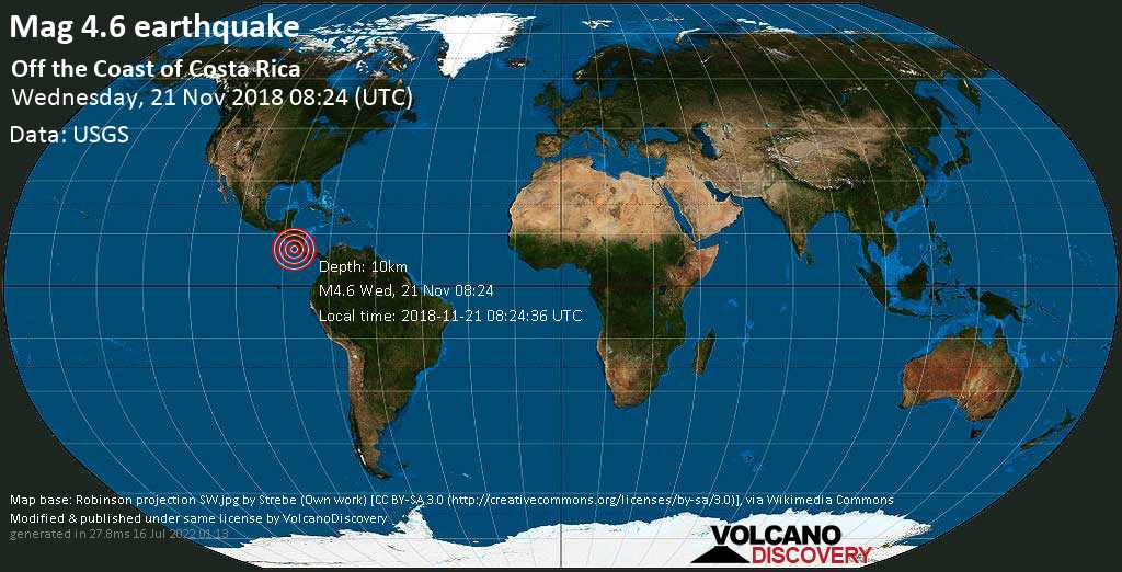 Light mag. 4.6 earthquake  - off the coast of Costa Rica on Wednesday, 21 November 2018