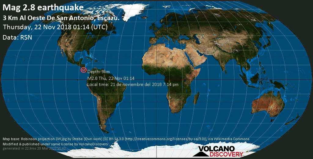 Minor mag. 2.8 earthquake  - 3 km al Oeste de San Antonio, Escazu. on Thursday, 22 November 2018