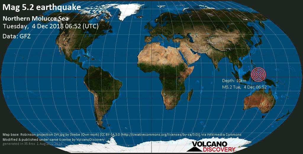 Moderate mag. 5.2 earthquake  - Northern Molucca Sea on Tuesday, 4 December 2018