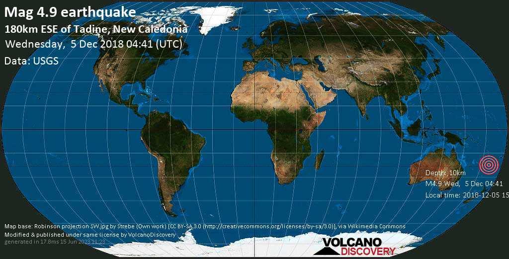 Light mag. 4.9 earthquake  - 180km ESE of Tadine, New Caledonia on Wednesday, 5 December 2018