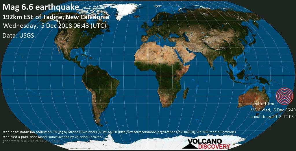 Strong mag. 6.6 earthquake  - 192km ESE of Tadine, New Caledonia on Wednesday, 5 December 2018