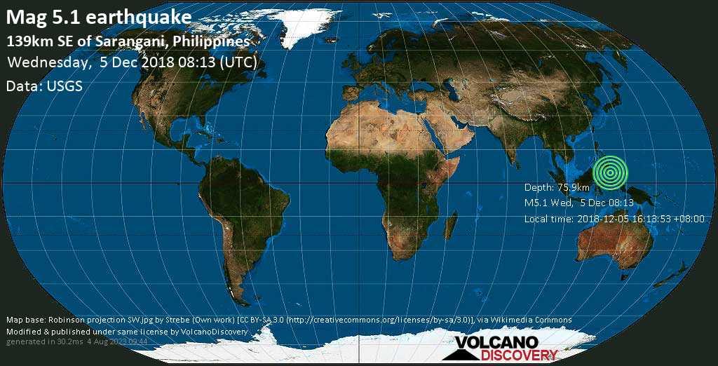 Moderate mag. 5.1 earthquake  - 139km SE of Sarangani, Philippines on Wednesday, 5 December 2018