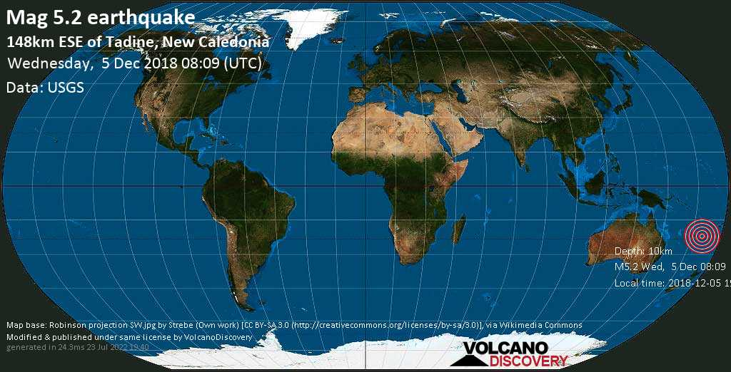 Moderate mag. 5.2 earthquake  - 148km ESE of Tadine, New Caledonia on Wednesday, 5 December 2018