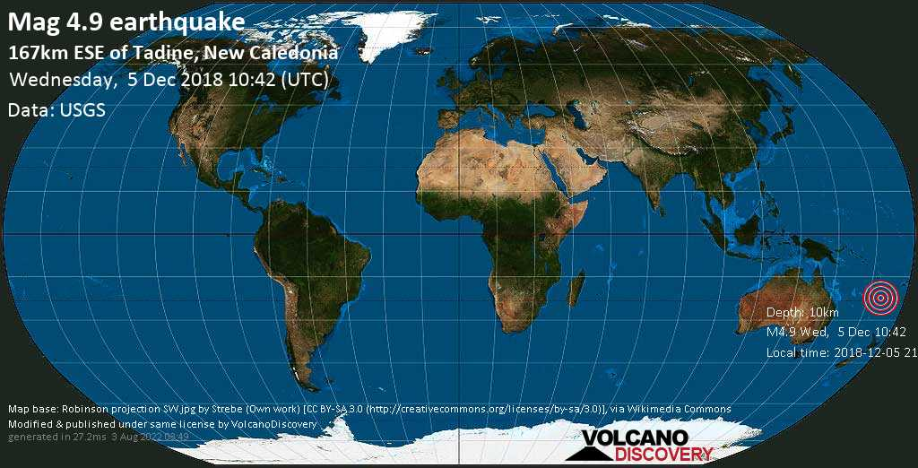 Light mag. 4.9 earthquake  - 167km ESE of Tadine, New Caledonia on Wednesday, 5 December 2018