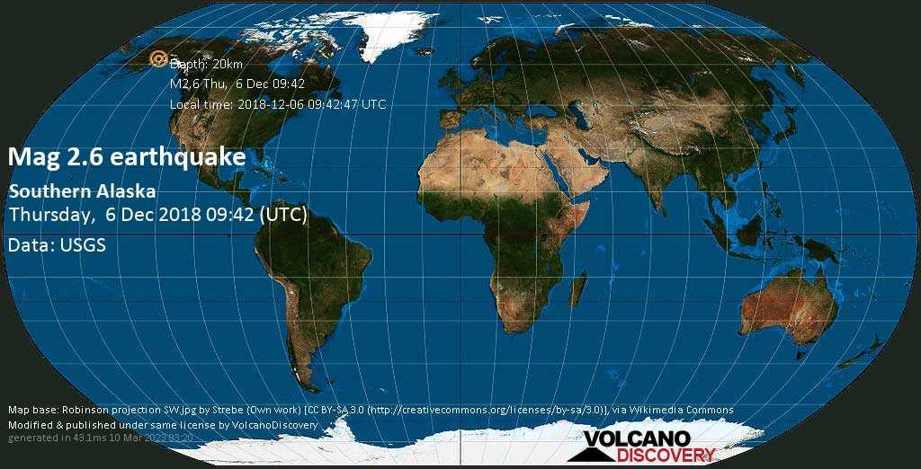 Minor mag. 2.6 earthquake  - Southern Alaska on Thursday, 6 December 2018