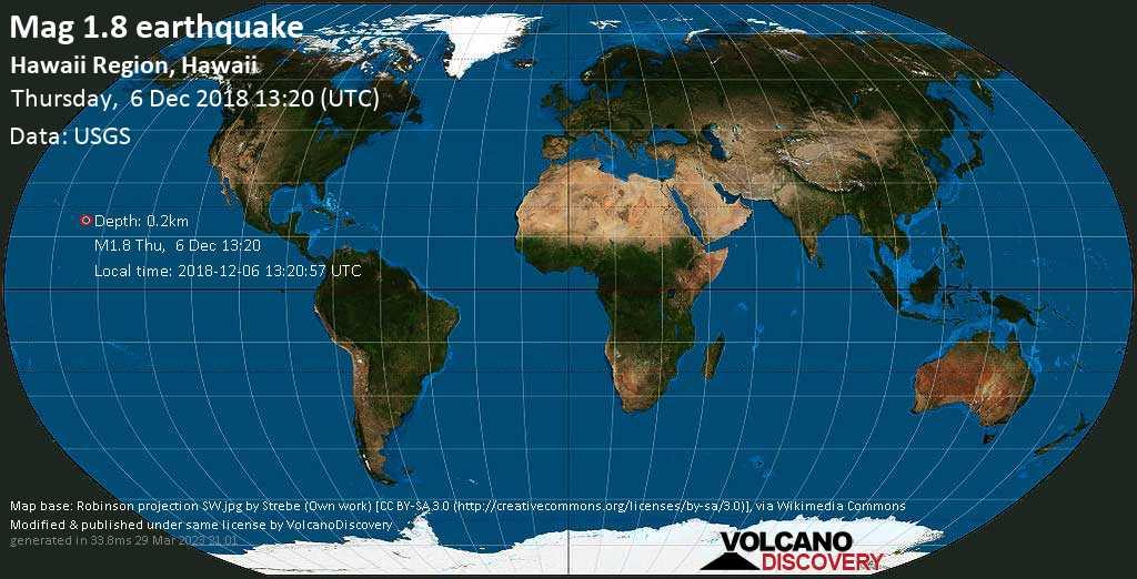 Minor mag. 1.8 earthquake  - Hawaii region, Hawaii on Thursday, 6 December 2018