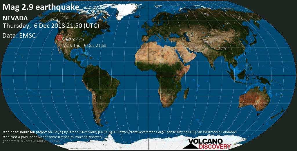 Minor mag. 2.9 earthquake  - NEVADA on Thursday, 6 December 2018