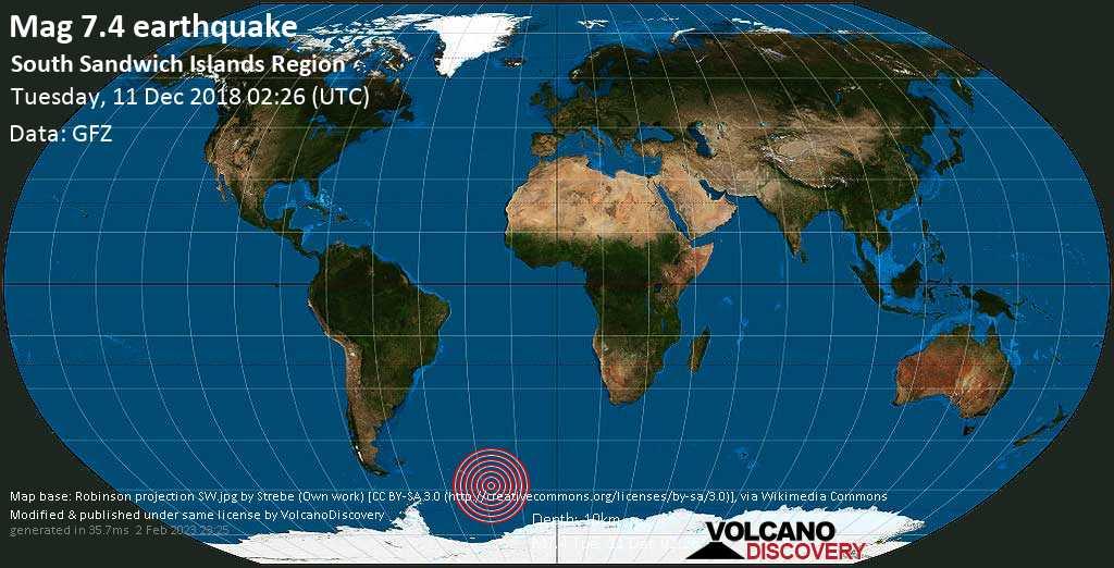 Major mag. 7.4 earthquake  - South Sandwich Islands Region on Tuesday, 11 December 2018