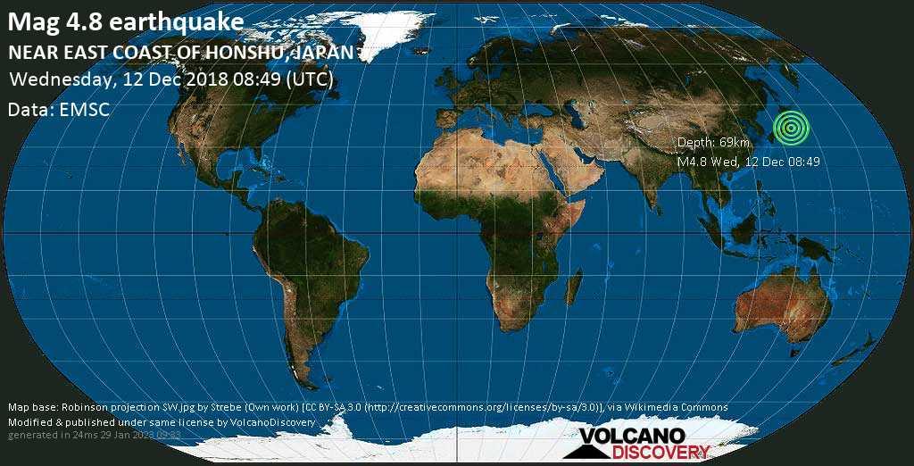 Light mag. 4.8 earthquake  - NEAR EAST COAST OF HONSHU, JAPAN on Wednesday, 12 December 2018