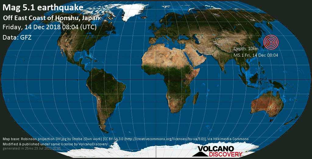 Moderate mag. 5.1 earthquake  - Off East Coast of Honshu, Japan on Friday, 14 December 2018