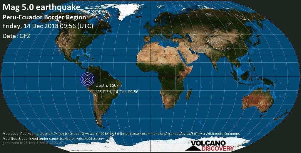 Moderate mag. 5.0 earthquake  - Peru-Ecuador Border Region on Friday, 14 December 2018