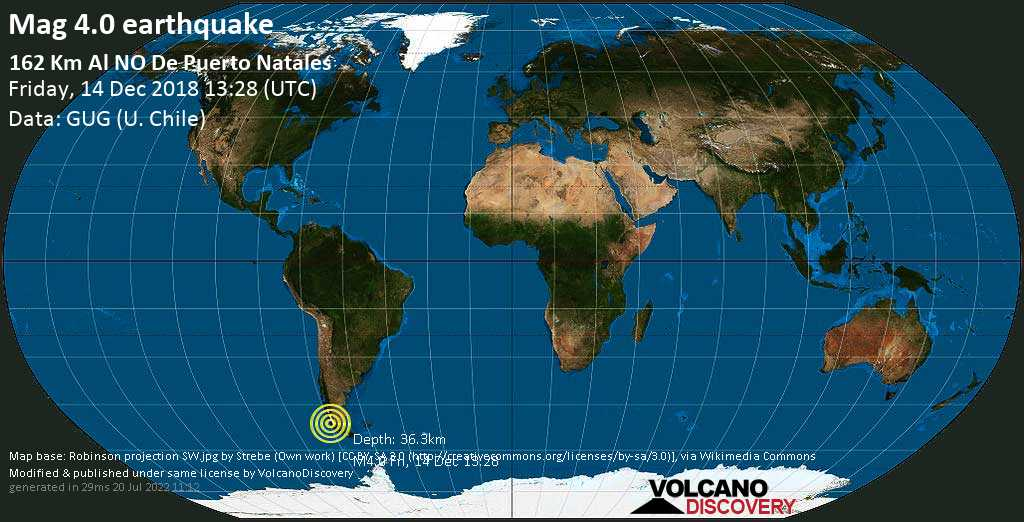 Light mag. 4.0 earthquake  - 162 km al NO de Puerto Natales on Friday, 14 December 2018
