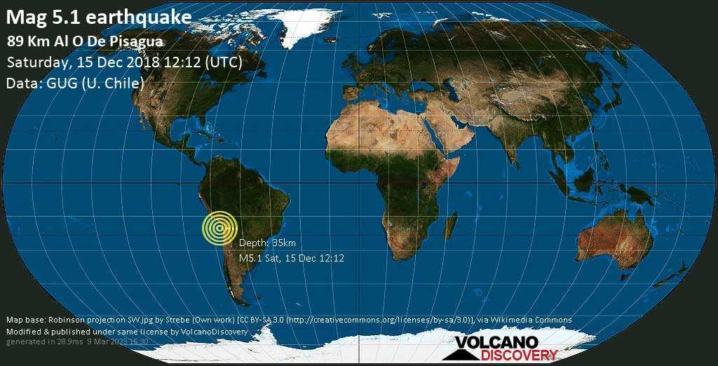 Moderate mag. 5.1 earthquake  - 89 km al O de Pisagua on Saturday, 15 December 2018
