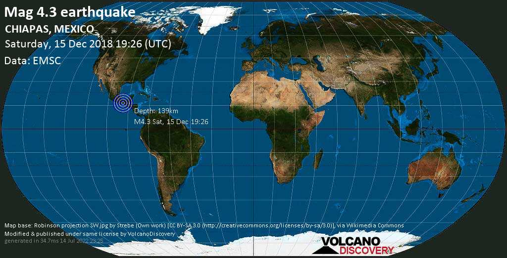 Light mag. 4.3 earthquake  - CHIAPAS, MEXICO on Saturday, 15 December 2018