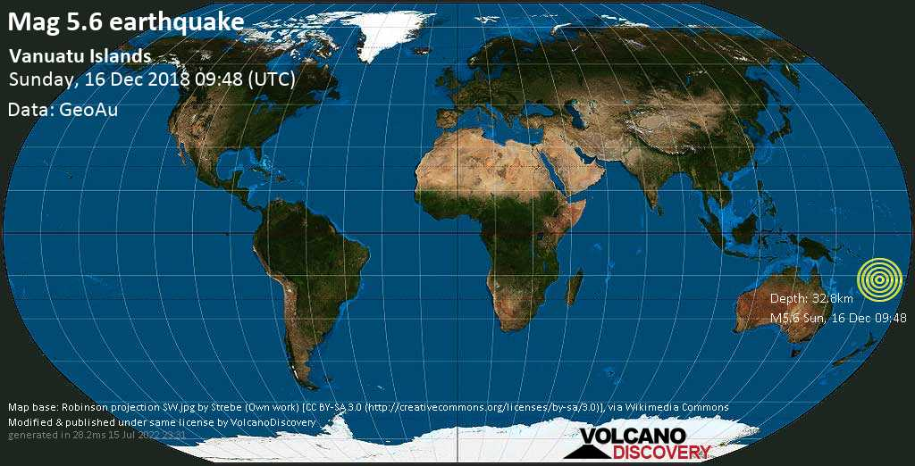 Moderate mag. 5.6 earthquake  - Vanuatu Islands on Sunday, 16 December 2018