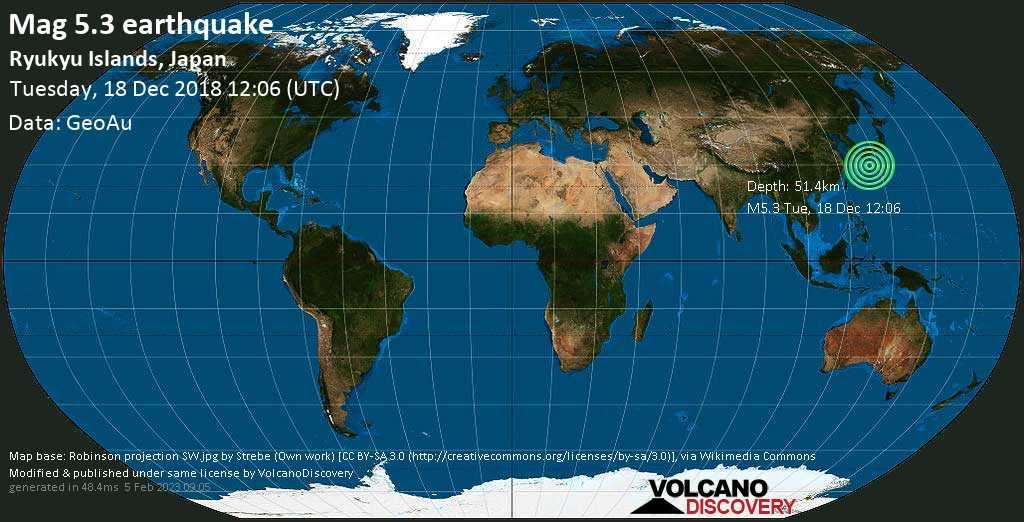 Moderate mag. 5.3 earthquake  - Ryukyu Islands, Japan on Tuesday, 18 December 2018