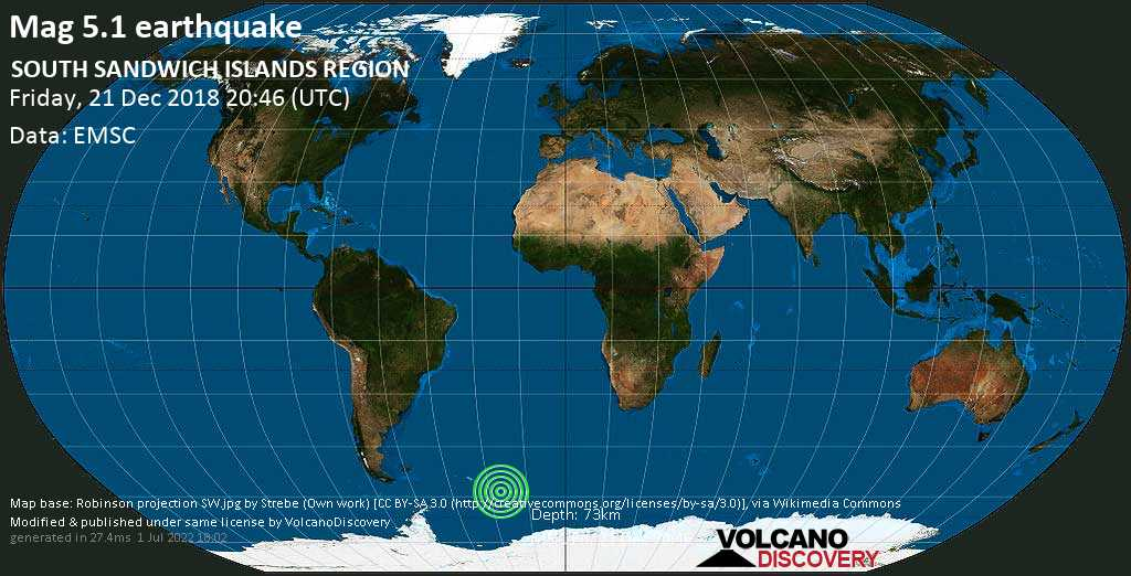 Moderate mag. 5.1 earthquake  - SOUTH SANDWICH ISLANDS REGION on Friday, 21 December 2018