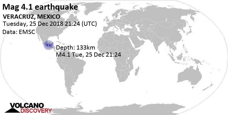 Light mag. 4.1 earthquake  - VERACRUZ, MEXICO on Tuesday, 25 December 2018