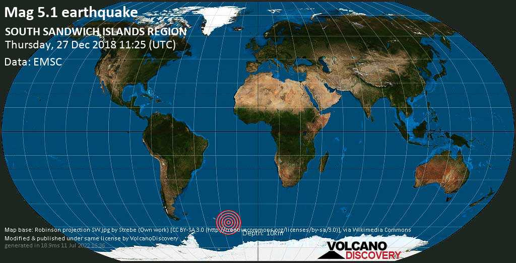 Moderate mag. 5.1 earthquake  - SOUTH SANDWICH ISLANDS REGION on Thursday, 27 December 2018