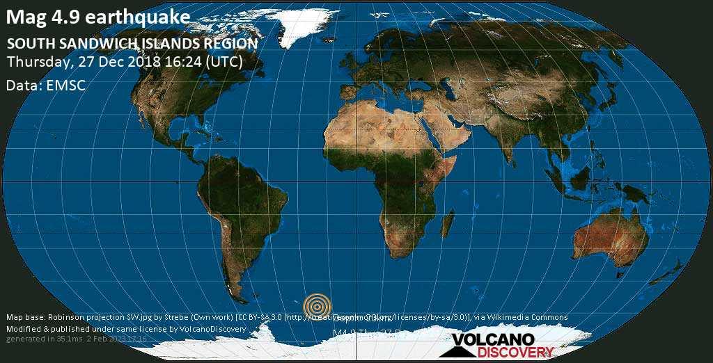 Light mag. 4.9 earthquake  - SOUTH SANDWICH ISLANDS REGION on Thursday, 27 December 2018