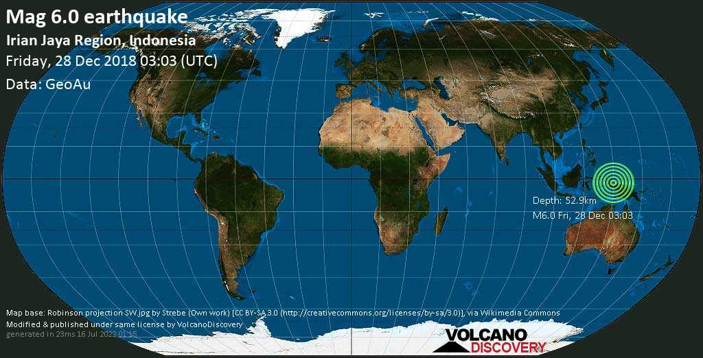 Strong mag. 6.0 earthquake  - Irian Jaya Region, Indonesia on Friday, 28 December 2018