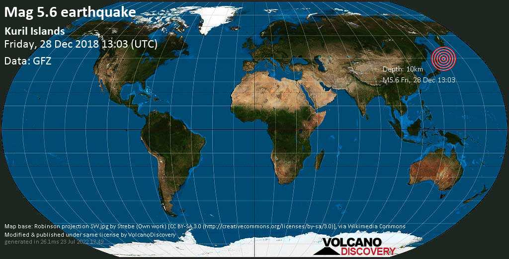 Moderate mag. 5.6 earthquake  - Kuril Islands on Friday, 28 December 2018